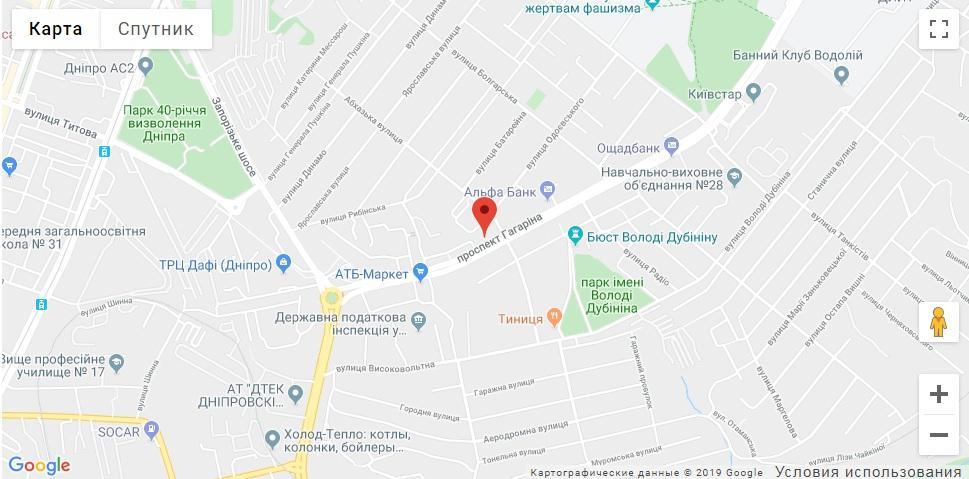 Адрес на карте компании Алиас-Днепр1